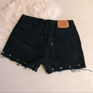 Vintage Levi's Black Grommet Denim Shorts